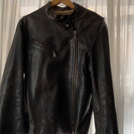 Vintage heavyweight real leather motorcycle jacket - image 4