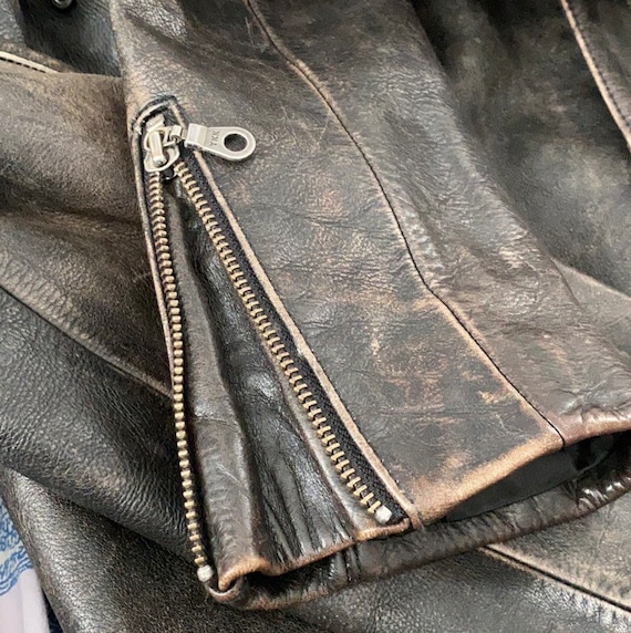 Vintage heavyweight real leather motorcycle jacket - image 2