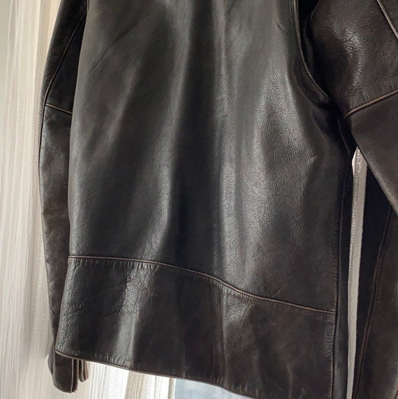 Vintage heavyweight real leather motorcycle jacket - image 9