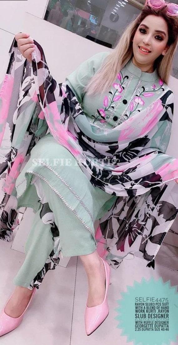 Indian pants top party pakistani kurta kurti ethnic dress maroon dupatta combo