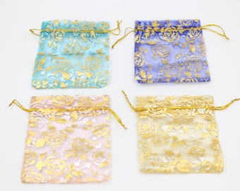 x100 Green, Pink, Blue, Organza Gold for 10x12 cm jewelry