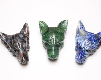 Animal Carving. Carved Wolf Pendant B4457 Wolf Jewelry For Men New Year Sale Wolf Lover African Jade Wolf Head Green Crystal Bead