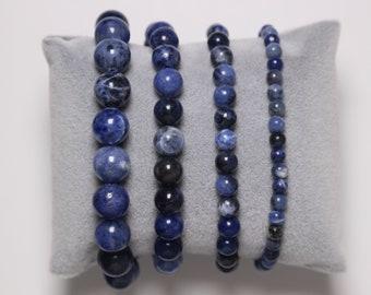 silver and blue bracelet Sodalite jewellery unisex bracelet UK throat chakra jewelry Sodalite semi precious blue gemstone bracelet