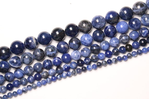 48 semi precious smooth round natural stone 32 8mm 38 63 12mm 1 Sodalite yarn 90 natural beads in 4mm 6mm 10mm