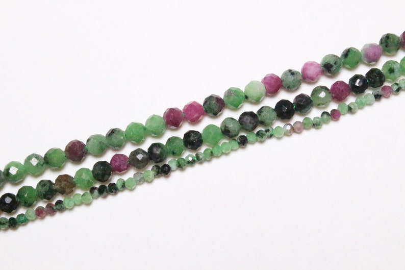 110 3.5-4mm x 1 Ruby yarn on zoisite 250 faceted beads in 1.5-2mm 2.5-3mm 150 natural round stone faceted semi-precious