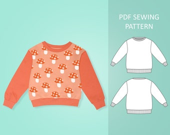 Easy Baby and Toddler Sweatshirt PDF Sewing Pattern, Size 0 Months - 6 Years Old