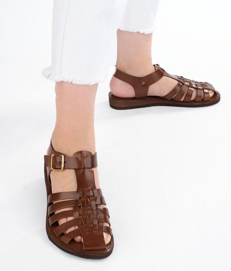 1940s Women's Footwear Womens Brown Genuine Leather gladiator sandals Women leather sandals minimalist sandals boho shoes for women Greek sandals for women $61.17 AT vintagedancer.com