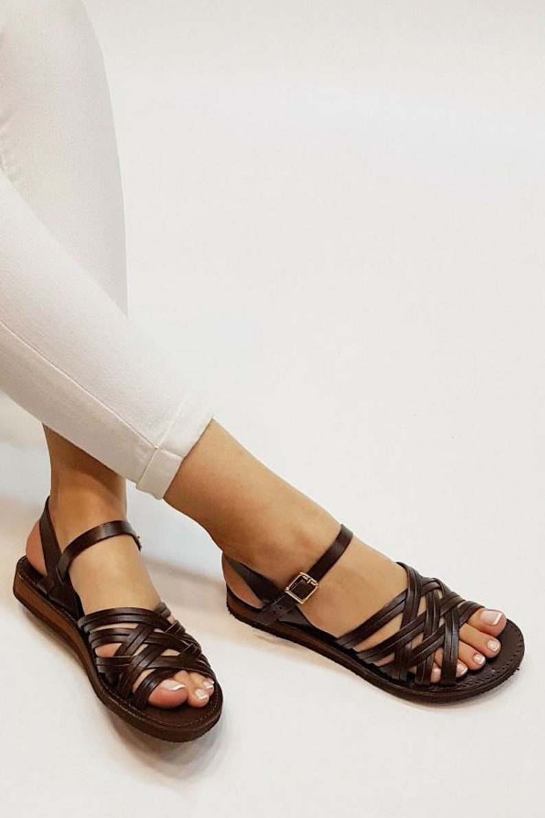1950s Style Clothing & Fashion 2021 New Collection Brown leather sandals women brown sandals women flat sandals strap sandals adjustable sandals comfort sandals $64.36 AT vintagedancer.com