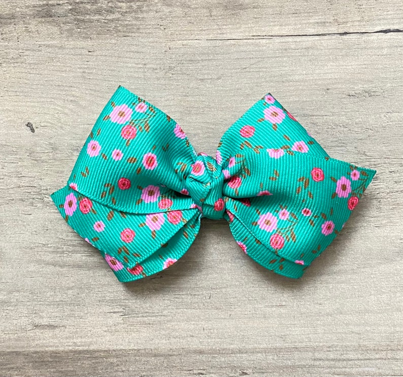 Floral Hair Bow Spring Hair Bow Easter Bow Small Bows Big Bows Headbands Baby Bows Headwraps Ribbon Bows