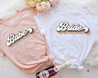 Wine Bachelorette Party Shirts, Bachelorette Party Shirts, Retro Bride Babe Shirt, Bride Shirt, Team Bride Shirt, Bridesmaid Party Shirt