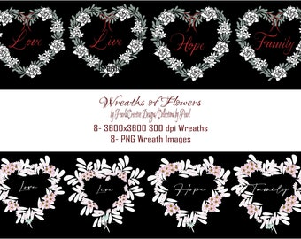 Wreaths of Flowers Collection Live-Love-Hope-Family graphic arts images