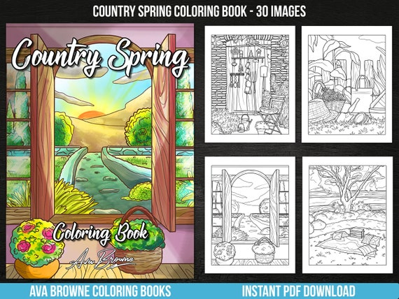 Ava Browne Coloring Books  Country Spring Adult Coloring