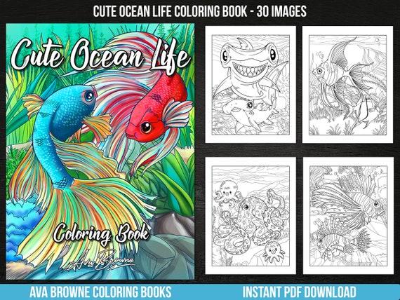 Ava Browne Coloring Books  Cute Ocean Life Coloring Book