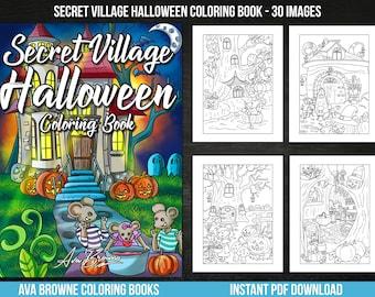 Ava Browne Coloring Books | Secret Village Halloween Coloring Book, Fall Adult Coloring Book Gift For Women, Teens, And Girls. PDF DOWNLOAD