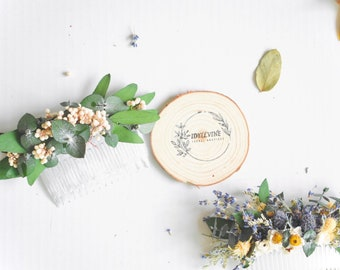 Natural eucalyptus & white berry clear hair comb • real dried greenery hair accessory • floral hair comb