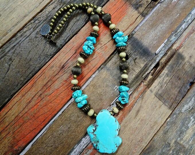 Cowgirl western slab necklace #N154E