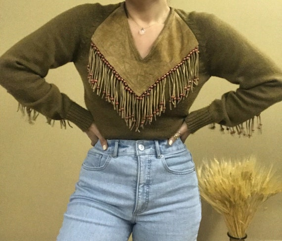 1970s Western-Style Sweater with Suede Fringe