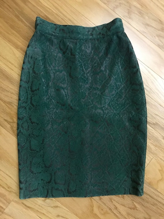 Vintage Cache Snakeskin Leather Skirt