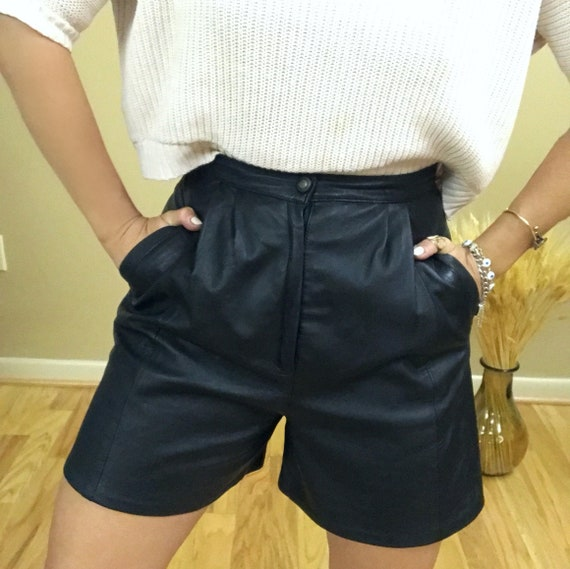 Genuine Leather High-Rise Vintage Shorts