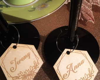 Mini wooden heart on Wine Hanger Wedding charms Anniversary charm Wooden wine Tags Wedding hearts favors Wood tags Wedding ages Engraved-70
