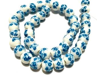 40pcs 1 Strand No.CM40 of Mixed Ceramic Beads 8mm Round
