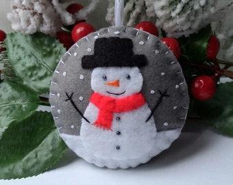 Snowman ornament / Felt Christmas decoration /  Felt ornament / Christmas ornament /  Christmas tree decor / Festive decor