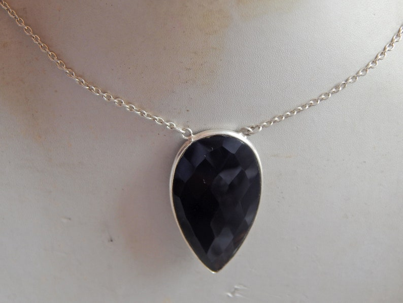 jewelry Necklace-gemstone-Handmade-Black Onyx Pendent-Gift for her Black Onyx Necklace-925 sterling silver