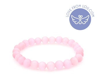 Pink Cat's Eye Natural Healing Pink Cats Eye Chakra Beaded Charm Bracelet 19cm
