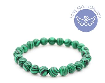 Green Malachite Stone Natural Healing Chakra Beaded Charm Bracelet 19cm