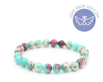 Shoushan Stone Pink Green Natural Healing Chakra Beaded Charm Bracelet 19cm