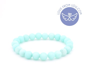 Amazonite Light Green Natural Healing Beaded Charm Bracelet 19cm