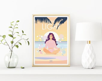 Be The Light – Mindfulness, Yoga, Meditation, Wellbeing Vintage Style Retro Quote Poster Print Artwork, A3, A4
