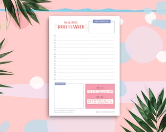 Daily Planner Notepad A5 Desk Pad, To Do List, Motivation Goals, Notebook, Organiser, Health Tracker