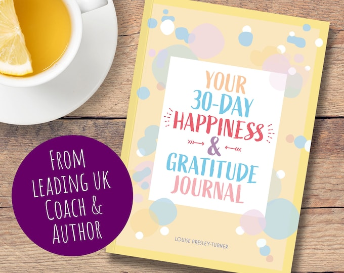 Featured listing image: 30 Day Happiness and Gratitude Journal, A6 Daily Gratitude, Happy Journal, Self Care, Mindfulness 30 Day Challenge, Fun journal, Write, Book