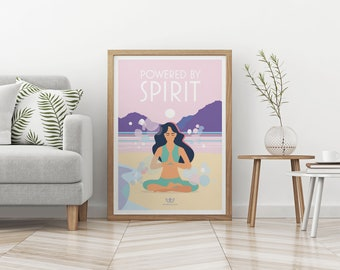 Powered By Spirit – Mindfulness, Yoga, Meditation, Wellbeing Vintage Style Retro Quote Poster Print Artwork