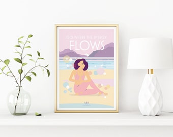 Go Where The Energy Flows – Mindfulness, Yoga, Meditation, Wellbeing Vintage Style Retro Quote Poster Print Artwork, A3, A4