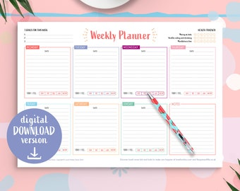 Weekly Planner Download + FREE weekly planner, Weekly Planner Notepad, Digital Download, To Do List, Notebook Organiser, Health Tracker
