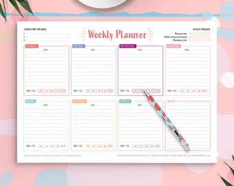 Weekly Planner Notepad A4 Desk Pad, To Do List, Motivation Goals, Notebook, Organiser, Health Tracker