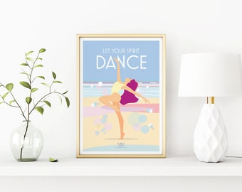 Let Your Spirit Dance – Mindfulness, yoga, meditation, wellbeing vintage style retro quote poster print Artwork, A3, A2