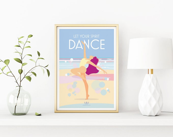 Featured listing image: Let Your Spirit Dance – Mindfulness, yoga, meditation, wellbeing vintage style retro quote poster print Artwork, A3, A2