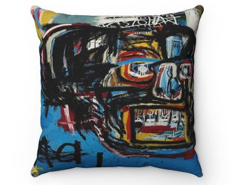 Custom BASQUIAT Soft Cotton Satin BLUE Floral Patterned Fringe 17x17 Indoor Throw Pillow one of a kind SAMO