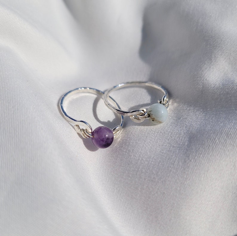 Size 7.5 Sterling Silver Gemstone Ring Textured 925 Sterling Silver Band Wire Wrapped Gemstone Bead