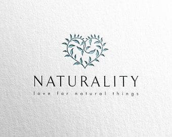 Vol. 2 - Heart logo, Botanical logo, Premade logo, Customized logo, Leaves logo