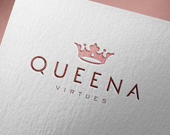 Premade logo, Shop logo, Elegant logo, Customized logo, Feminine logo, Female logo, Crown logo