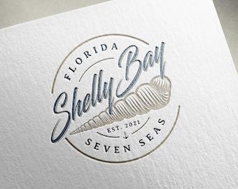Premade logo, Seashell logo, Spiral logo, Coastal logo, Nature symbol logo, Bay logo, Seaside logo