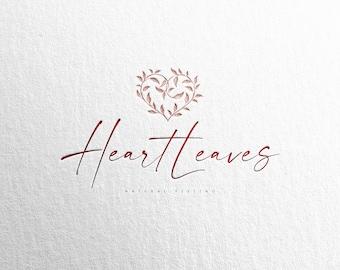 Heart logo, Botanical logo, Premade logo, Customized logo, Leaves logo