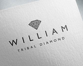 Diamond logo, Premade logo, Shop logo, Elegant logo, Customized logo, Gem logo