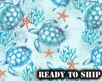 Sea Turtles and Starfish, Beach, Ocean - By The Yard, FQ - Sewing, Face Mask, Pillow Fabric