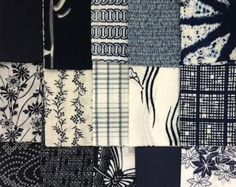 Blue and white Random linesdashes Available various lengths Cotton Yukata Kimono fabric