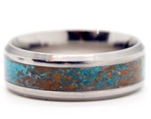 Patinated Copper And Titanium Ring Copper Patina Ring Teal Color Version